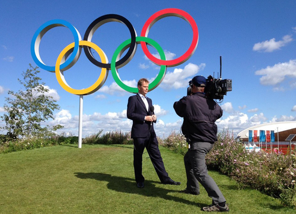 James Pearce with the Olympic Rings
